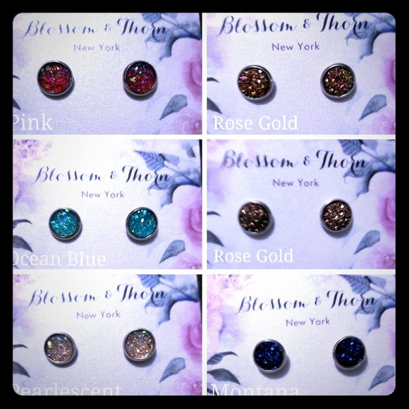 Blossom & Thorn Jewelry - Deep Blue Druzy Surgical Steel Post earings